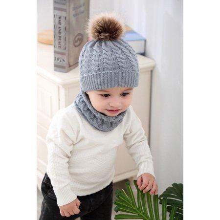 b4acb8d14a0 FUFUCAILLM - 2Pcs Warm Toddler Baby Kids Boys Girls Knit Beanie Hat Fur Pom  Crochet Cap+Scarf - Walmart.com