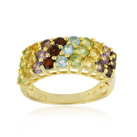 18K gold over Sterling Silver 3 Row Multi Gemstone Wedding Band Ring