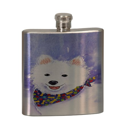 KuzmarK 6 oz. Stainless Steel Pocket Hip Liquor Flask - American Eskimo Dog Eskie Art by Denise