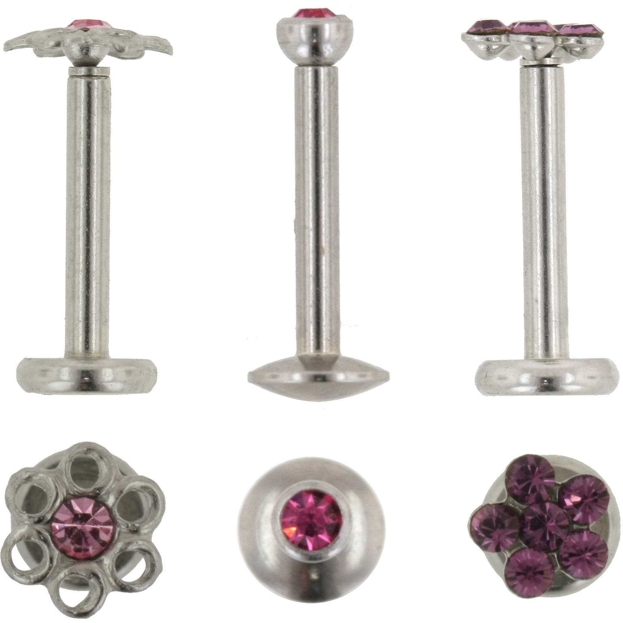 Hotsilver Body Jewelry 3 Pack - 16G Surgical Steel Internally Threaded Crystal Labret Monroe -Pink