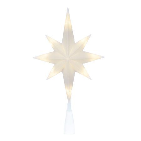 Holiday Time Light-up LED White Star Tree Topper, 11