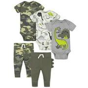 Gerber Baby Boy Bodysuits & Pants Outfit Set, 5-Piece, Newborn-12 Months