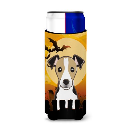 Halloween Jack Russell Terrier Ultra Beverage Insulators for slim cans - Halloween Beverages For Kids