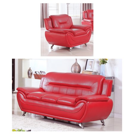 UFE Norton Faux Leather Modern Living Room Sofa and Chair Set, Red