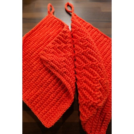 Canvas Print Fabric Wool Crochet Oven Mitts Red Stretched Canvas 10