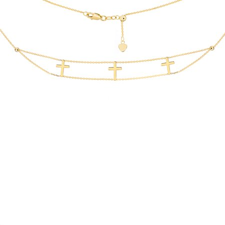 """14K Yellow Gold Double Stranded Triple Cross Choker Necklace. Adjustable 10""""-16"""""""