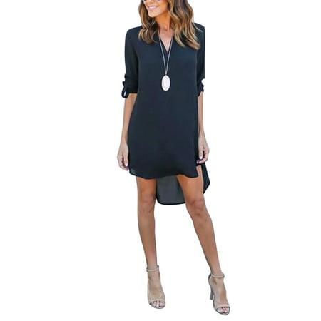 Plus Size Womens Casual Chiffon Shirt Dress V Neck Dress High Low Top Boyfriend Shirt Blouse Dress Shirt Neck Size