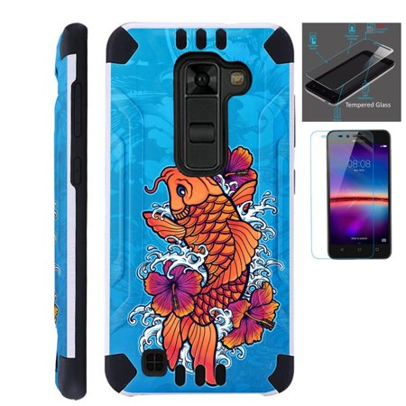 For LG Stylo 2 Plus MS550 (Metro PCS / T-Mobile Only) Case + Tempered Glass Screen Protector / Slim Dual Layer Brushed Texture Armor Hybrid TPU KomBatGuard Phone Cover (Orange (Orange Business Sim Only)