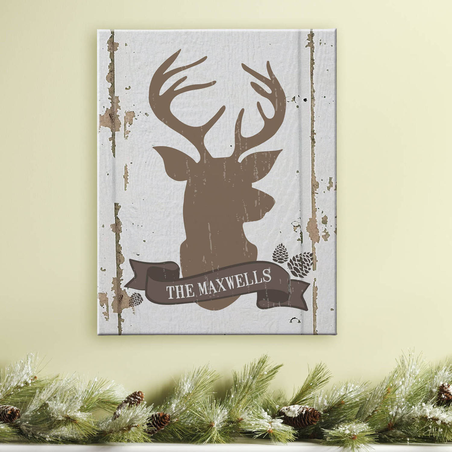 Personalized Rustic Deer Family Name Canvas