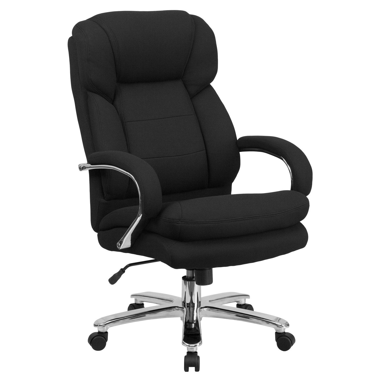 Flash Furniture HERCULES Series 24/7 Intensive Use, Multi-Shift, Big & Tall 500-Pound Capacity Black Fabric Executive Swivel Office Chair with Loop Arms