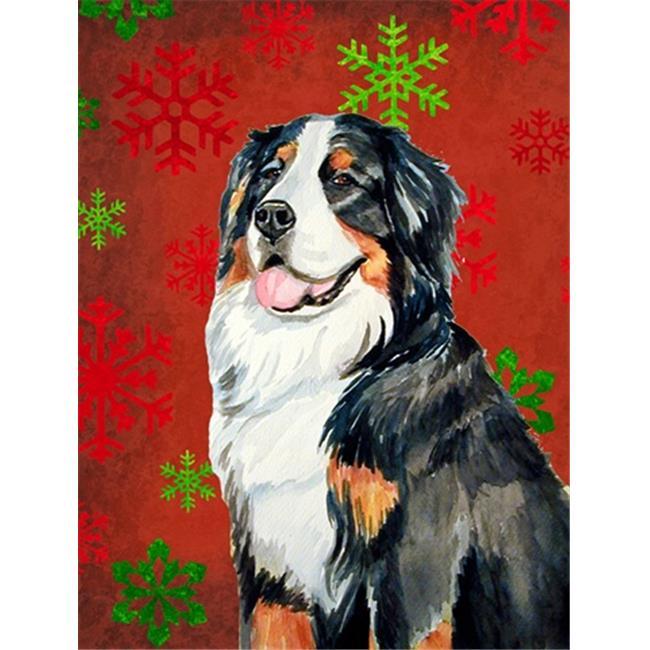 Carolines Treasures LH9334GF 11 x 15 In. Bernese Mountain Dog Red Green Snowflakes Holiday Christmas Flag, Garden Size - image 1 de 1