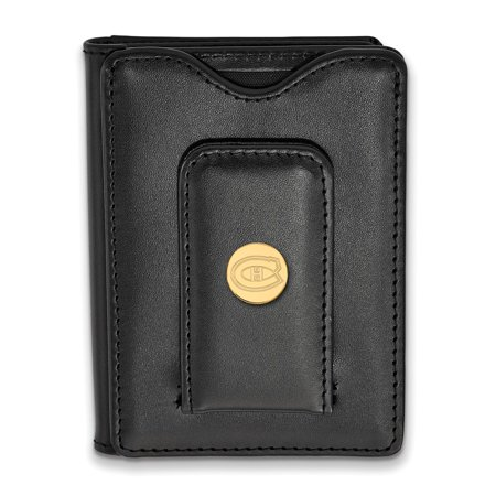 925 Sterling Silver Yellow Gold-Plated Official NHL Montreal Canadiens Black Leather Wallet - 114mm x 79mm Montreal Canadiens Leather