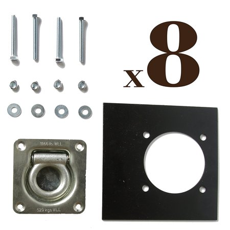 Eight Recessed D Ring Pan Fittings   Small Square Tie Down D Ring Trailer Cargo Tiedown Anchors   Mounting Lock Plates   Installation Tie Down Hardware Parts  Carriage Bolts  Keps Nuts  Flat Washers