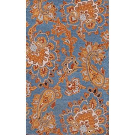 RugSource Floral Blue Paisley Wool 3x5 Agra Oriental Area Rug Handmade Blue Handmade Resin