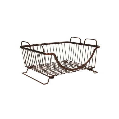 Spectrum Diversified Ashley Stackable Tray, Wire Basket With Raised Feet and Looped Handles, Modular Stacking Bin System for Kitchen Countertop & Desk Organization, Bronze Inflation System Basket