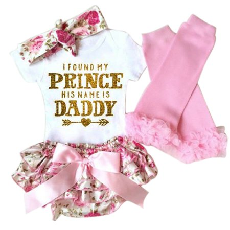 Kacakid Newborn Infant Baby Girls Romper Jumpsuit Bodysuit+Pants Outfit Clothes 4pcs/Set - Fifties Clothes For Girls