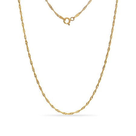 16 Inch Finished Necklace (Gold Over Sterling Silver Diamond Cut Singapore Necklace 16 Inch)