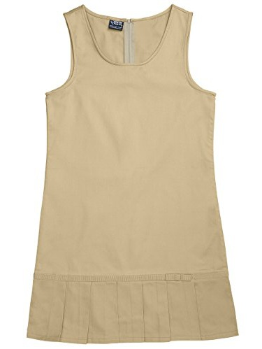 French Toast Little Girls' Pleated Hem Jumper, Khaki, 3T