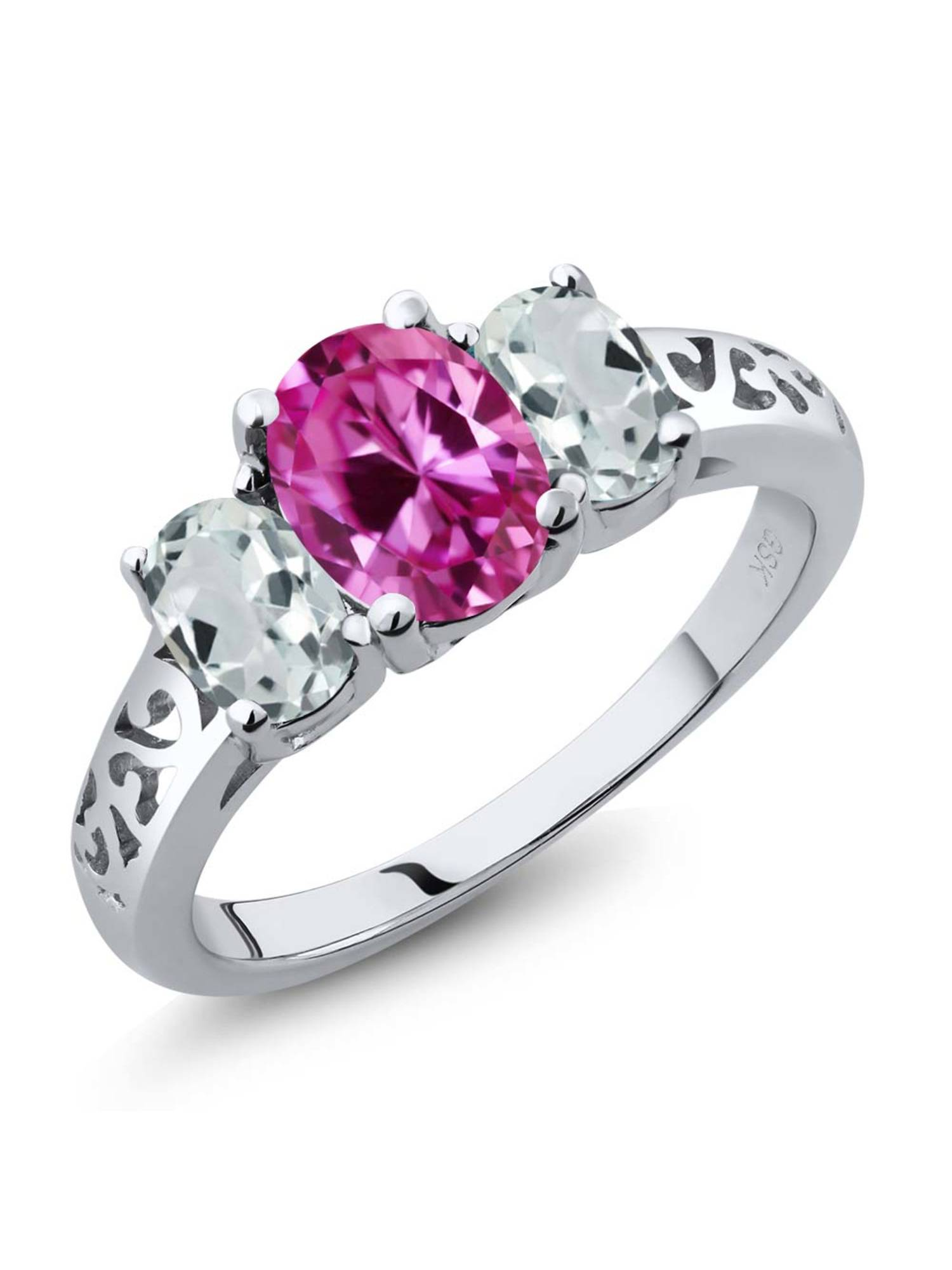 2.51 Ct Oval Pink Created Sapphire Sky Blue Aquamarine 925 Sterling Silver 3-Stone Ring by