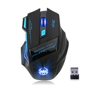 ZELOTES F14 LED Optical Computer Mouse Wireless 2.4G 2400 DPI 7 Buttons Wireless Gaming Mouse Colorful Breathing Lights for Pro Gamer