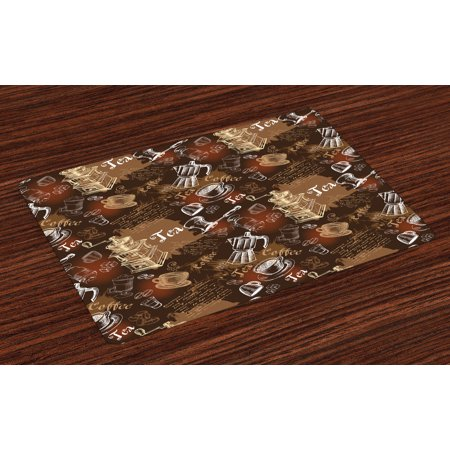 Modern Placemats Set of 4 Coffee Culture Theme with Italian Espresso French Press Tea Artwork, Washable Fabric Place Mats for Dining Room Kitchen Table Decor,Caramel Brown and Redwood, by Ambesonne