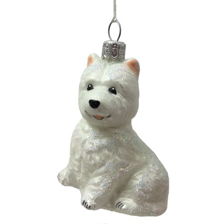 White Westie West Highland Terrier Dog Polish Glass Christmas Tree Ornament ()