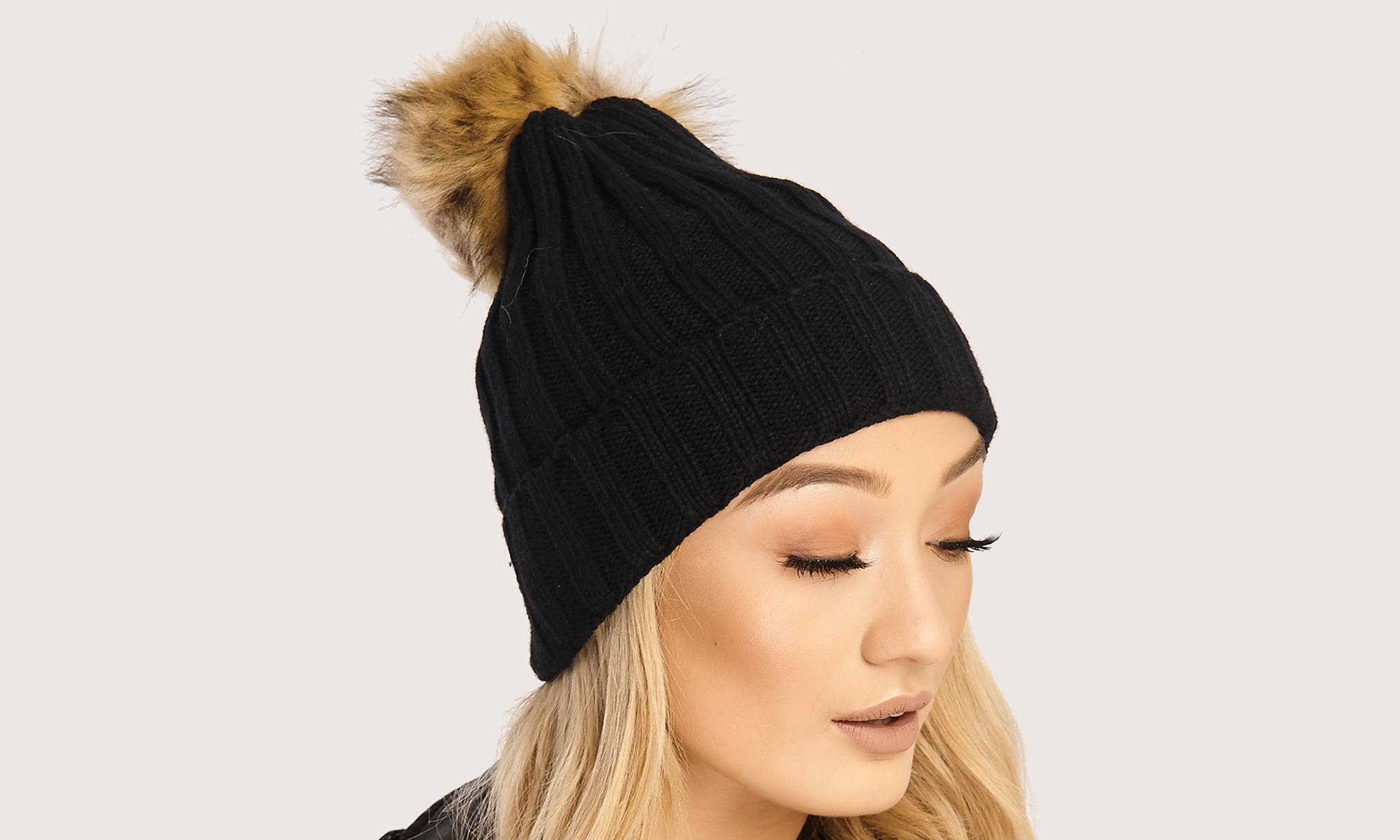 Women s Knitted Faux-Fur Pompom Hat 3b4bbdd36ea