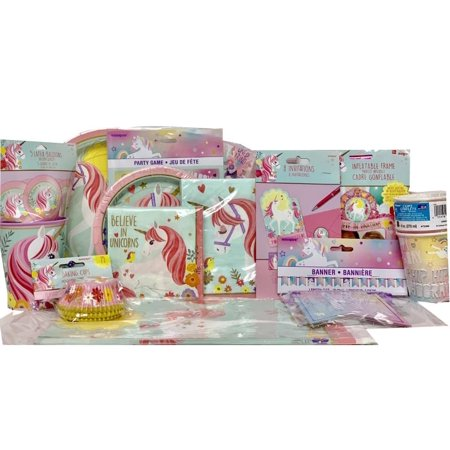 Unicorn Birthday Party Supply Package PlatesNapkinsTable CoverCups Banner Baking Cups
