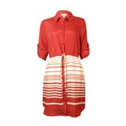 Maison Jules Women's Striped Belted Buttoned Shirtdress