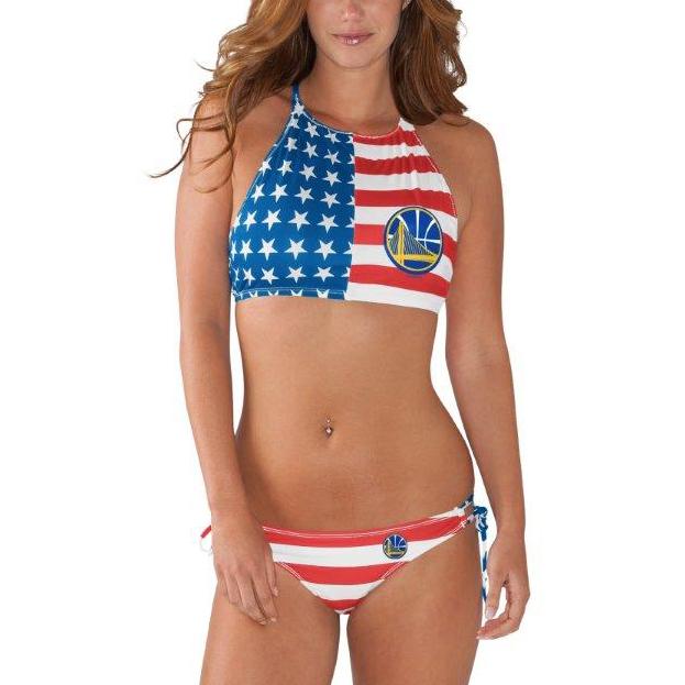 Golden State Warriors G-III Sports by Carl Banks Women's Patriotic Bikini Set - Red/Blue