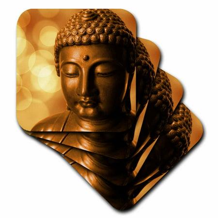 - 3dRose Golden Asia Buddha Symbol - Soft Coasters, set of 4