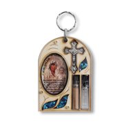 Christian Cross Icon Wall Decor - Hamsa Blessing for Home with Simulated Gemstones - Holy Water and Soil Included