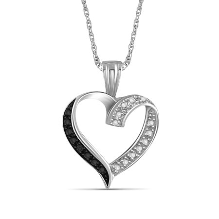 Diamond Open Heart Pendant - Black Diamond Accent Sterling Silver Open Heart Pendant