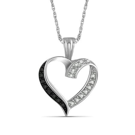 Black Diamond Accent Sterling Silver Open Heart Pendant Diamond Heart Fashion Pendant