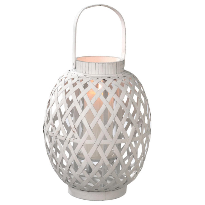 "19"" Large Modern White Geometric Bamboo Hurricane Pillar Candle Lantern"