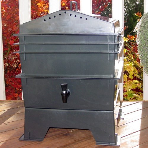 VermiHut 3-Tray Recycled Plastic Worm Composter - Black