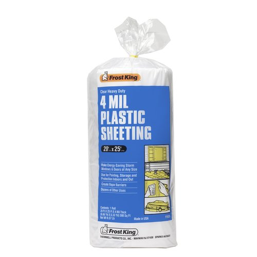 P2025 20' X 25' 4 Mil Clear Plastic Sheeting Poly Roll
