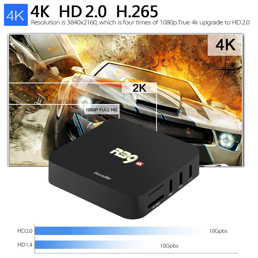 R39 RK3229 Android 8.1 Smart TV BOX 2G+16G Quad Core 4K HD WiFi 3D Media Player