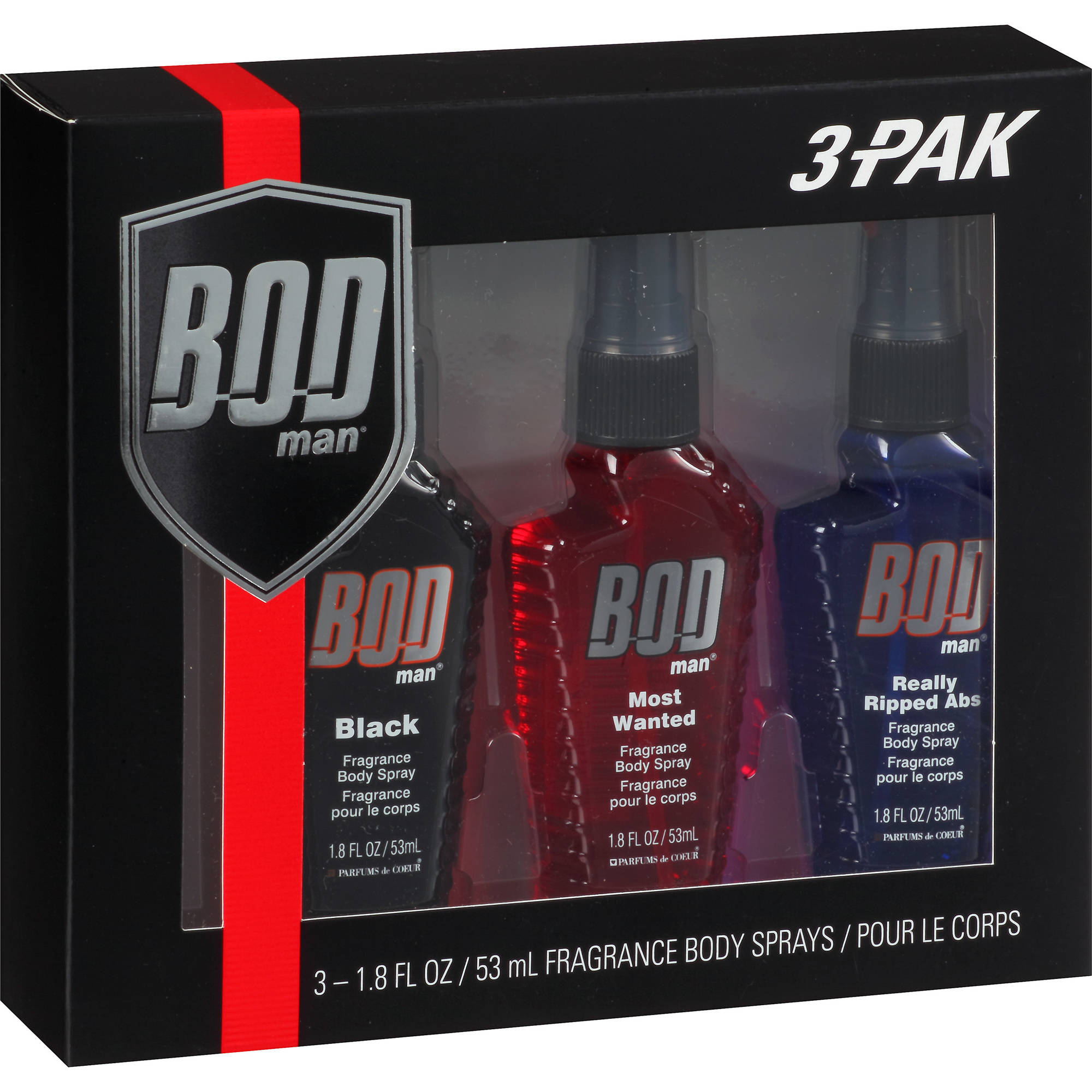 BOD Man Fragrance Body Sprays, 1.8 fl oz, 3 count