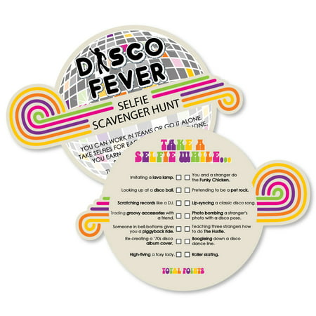 70's Disco - Selfie Scavenger Hunt - 1970s Disco Fever Party Game - Set of - Disco Party