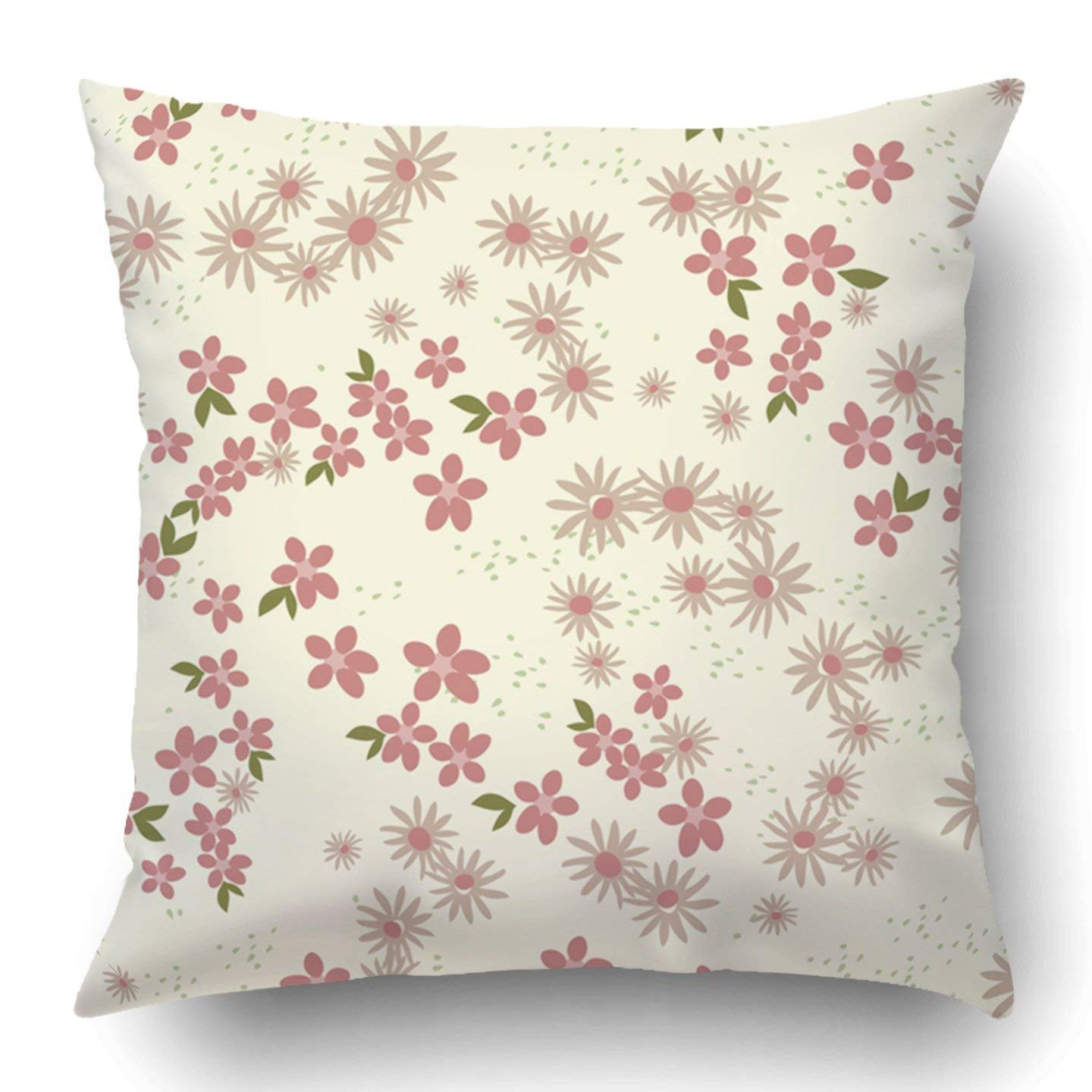WOPOP Colorful Flower Retro Ditsy Floral Green Babies Breath Bouquet Branch Bud Classic Cream Pillowcase 18x18 inch
