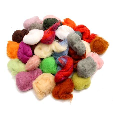 Soft Wool Spinning Roving Fiber (Meigar 36 Colors Hand Spinning Sewing Trimming Merino Wool Fibre Roving Needle Felting)