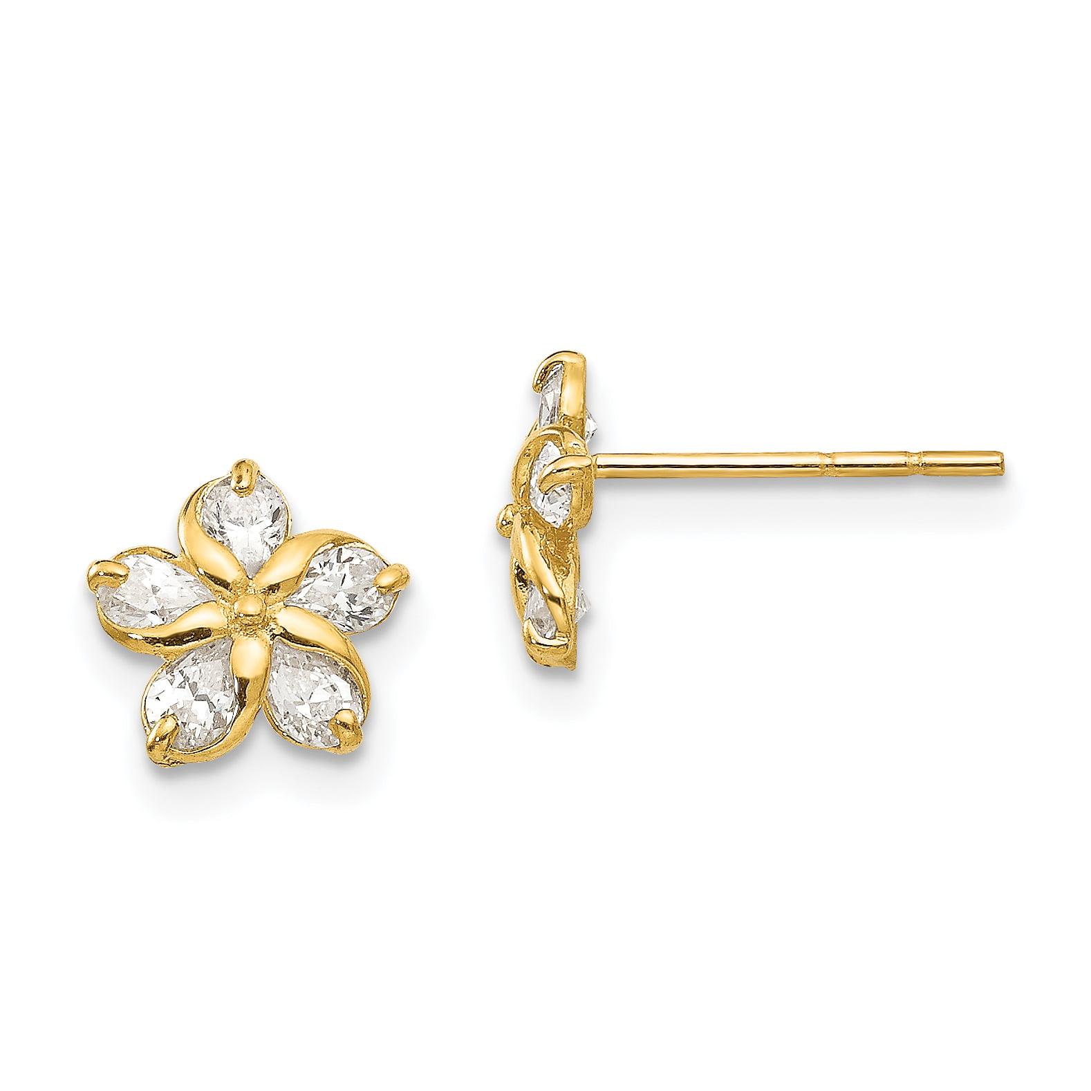 14K Yellow Gold Madi K Childrens 4.8 MM CZ Key Post Stud Earrings