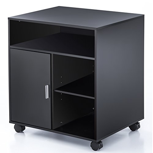 FITUEYES File Cabinet Mobile Printer Stand with storage on wheels 3 Shelf Multiple finishes Black PS406001WB