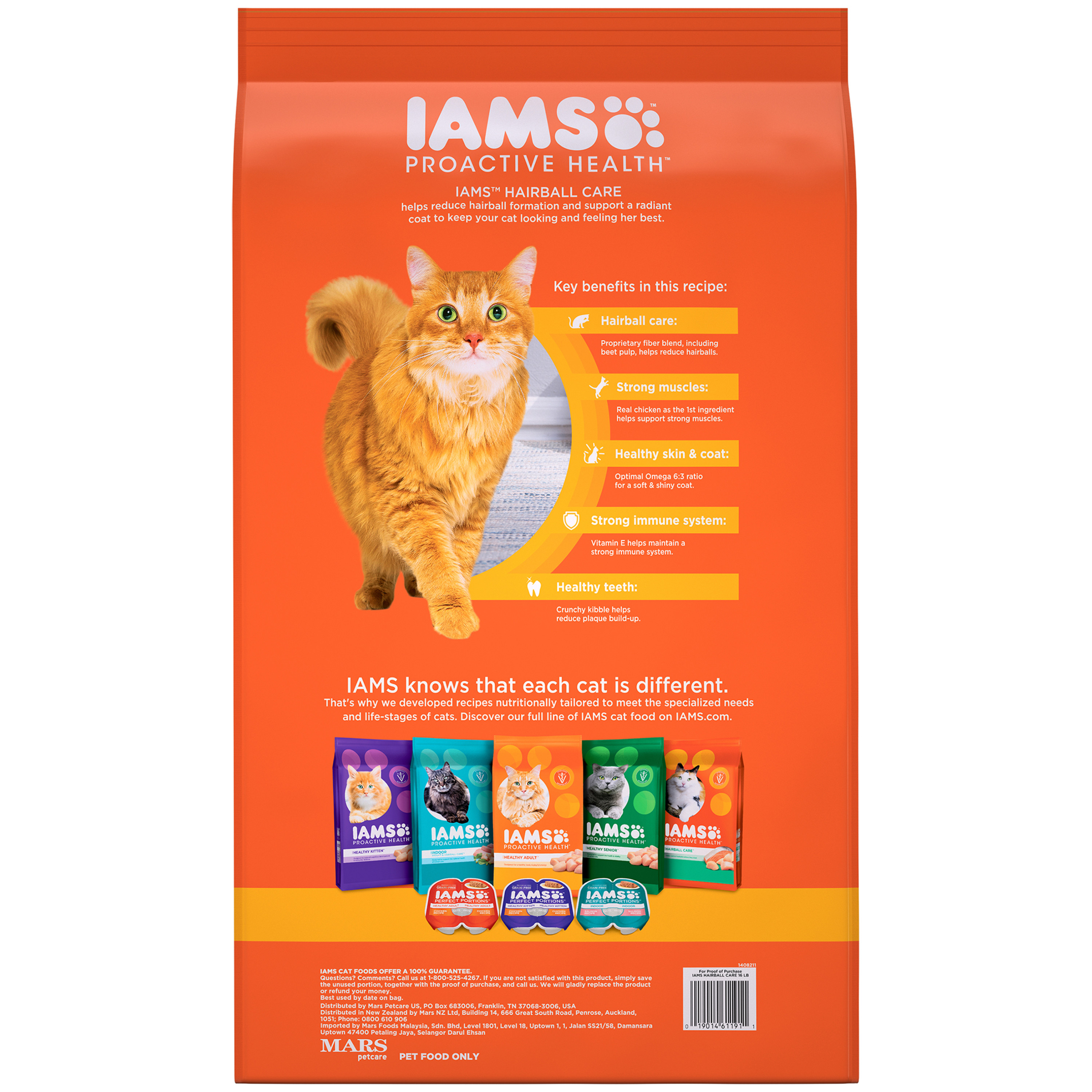 IAMS PROACTIVE HEALTH Hairball Care Adult Dry Cat Food with Chicken and  Salmon, 16 Pound Bag - Walmart.com