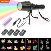 Holiday LED Projector Lights, Handheld Projector Light, Portable 4 Slides Projection Holiday Lights GOBO Moving Light Projector for Halloween Christmas Easter Birthday Party Wedding Easter Kids Room