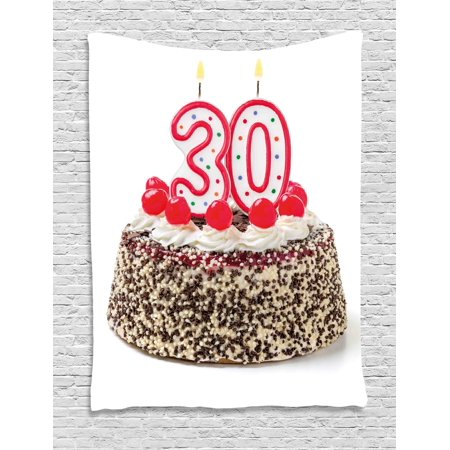 30th Birthday Decorations Tapestry Cake With Cherries On Top And Burning Candles Number 30