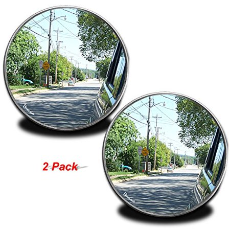 - Zento Deals Pack of Two 2 Inch Stick-on Rearview Blind Spot Mirrors Aluminum Border Thin Car Mirrors