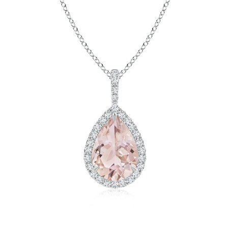 10x7mm Pear Pendant (Diamond Halo Pear Shaped Morganite Drop Pendant in 950 Platinum (10x7mm Morganite) -)