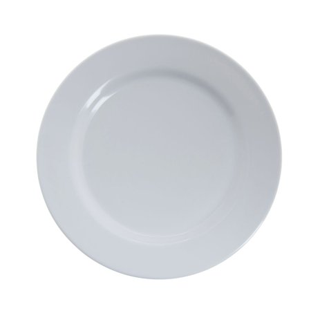 White Wide Rim Plate (HUBERT Dinner Plate with Wide Rim White Melamine - 9